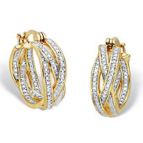 Diamond Accent 18k Gold-Plated Two-Tone Braided Hoop Earrings 7/8""