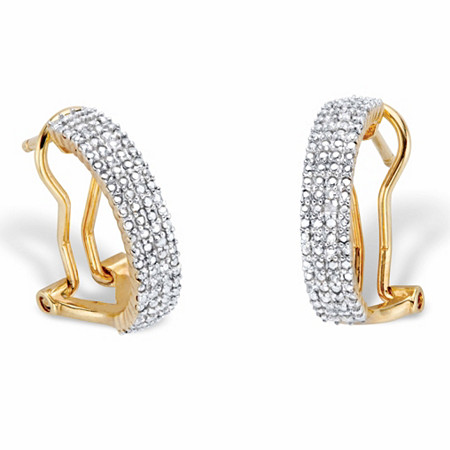 "Diamond Accent 14k Gold-Plated Two-Tone Demi-Hoop Earrings 3/4"" at PalmBeach Jewelry"