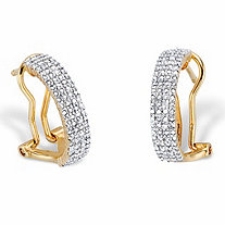 Diamond Accent 14k Gold-Plated Two-Tone Demi-Hoop Earrings 3/4""