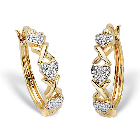 """Diamond Accent 14k Gold-Plated Two-Tone Hearts and Kisses """"X & O"""" Hoop Earrings 7/8"""" at PalmBeach Jewelry"""