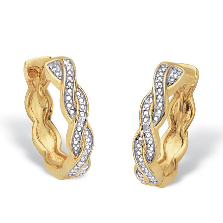"Diamond Accent 14k Gold-Plated Two-Tone Braided Huggie-Hoop Earrings 3/4"" at PalmBeach Jewelry"