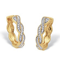 Diamond Accent 14k Gold-Plated Two-Tone Braided Huggie-Hoop Earrings 3/4""