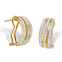 Diamond Accent 14k Gold-Plated Two-Tone Triple-Row Hoop Earrings 3/4""