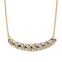 Diamond Accent 14k Gold-Plated Graduated S-Link Bib Necklace 18