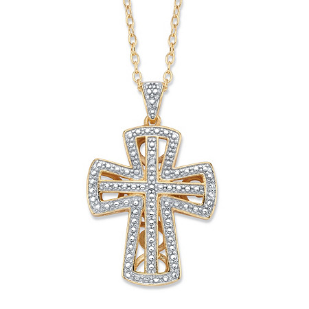 """Diamond Accent 18k Gold-Plated Two-Tone Open Cross Pendant Necklace 18"""" at PalmBeach Jewelry"""