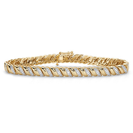 "Diamond Accent 18k Gold-Plated Two-Tone S-Link Bracelet 7.25"" at PalmBeach Jewelry"