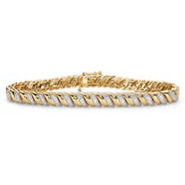 Diamond Accent 18k Gold-Plated Two-Tone S-Link Bracelet 7.25""