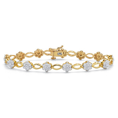 Diamond Accent 14k Gold-Plated Two-Tone Floral Fancy-Link Bracelet 7.25