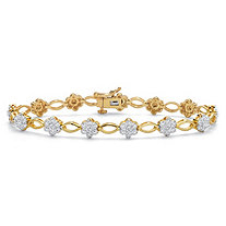 Diamond Accent 14k Gold-Plated Two-Tone Floral Fancy-Link Bracelet 7.25""