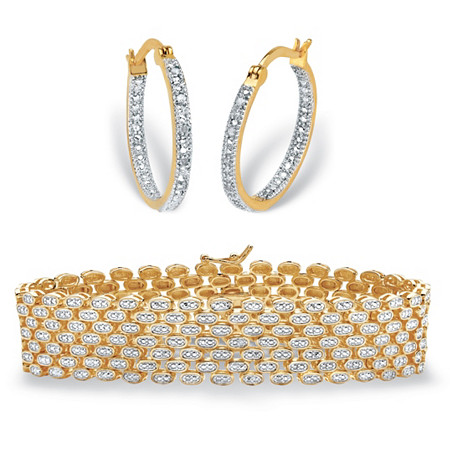 """Round Diamond 2-Piece Inside-Out Hoop Earrings and Panther-Link Two-Tone Bracelet 1/10 TCW Gold-Plated 7.25"""" at PalmBeach Jewelry"""