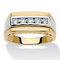 Men's .50 TCW Round Cubic Zirconia 14k Gold-Plated Beveled Two-Tone Ring
