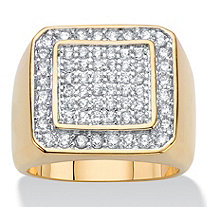SETA JEWELRY Men's 1.13 TCW Round Cubic Zirconia 14k Gold-Plated Grid Ring