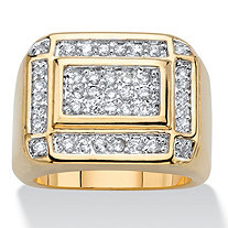 Men's .74 TCW Round Cubic Zirconia 14k Gold-Plated Step-Top Grid Ring
