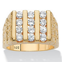 Men's .84 TCW Round Cubic Zirconia 18k Gold over Sterling Silver Channel-Set Nugget Ring