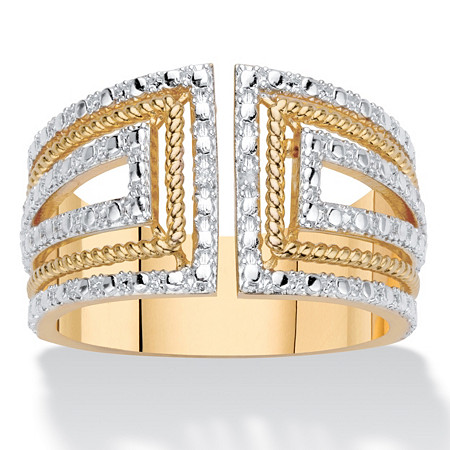 Round Diamond Accent 18k Gold-Plated Two-Tone Art Deco-Style Wide Band Ring at PalmBeach Jewelry