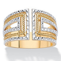 Round Diamond Accent 18k Gold-Plated Two-Tone Art Deco-Style Wide Band Ring