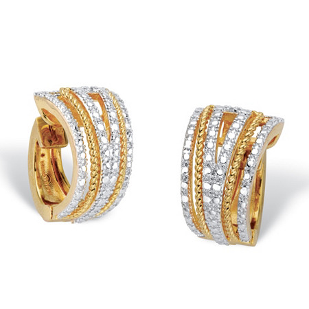 "Round Diamond Accent 18k Gold-Plated Two-Tone Art Deco-Style Huggie-Hoop Earrings 5/8"" at PalmBeach Jewelry"