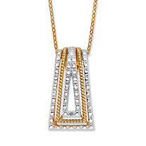 Round Diamond Accent 18k Gold-Plated Two-Tone Art Deco-Style Pendant Necklace 18""