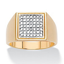 Men's Diamond Accent Gold-Plated Two-Tone Grid Ring