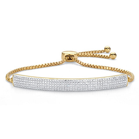 "Diamond Accent Bar 18k Gold-Plated Adjustable Drawstring Bolo Bracelet 9"" at PalmBeach Jewelry"