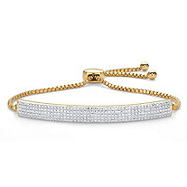 Diamond Accent Bar 18k Gold-Plated Adjustable Drawstring Bolo Bracelet 9""