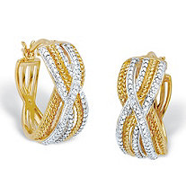 Diamond Accent Two-Tone 18k Gold-Plated Braided Hoop Earrings 7/8""