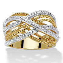 Diamond Accent Two-Tone 18k Gold-Plated Braided Crossover Ring 7/8""