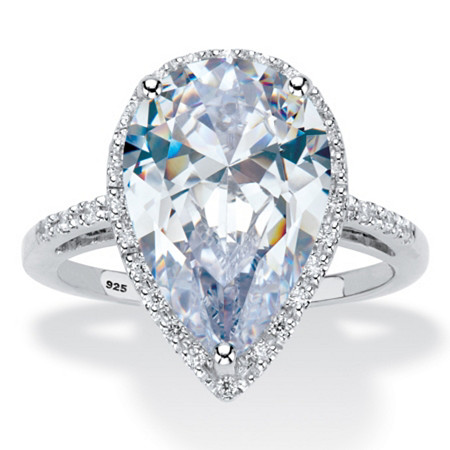 5.90 TCW Pear-Cut Cubic Zirconia Platinum Over Sterling Silver Halo Engagement Ring at PalmBeach Jewelry