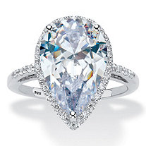 SETA JEWELRY 5.90 TCW Pear-Cut Cubic Zirconia Platinum Over Sterling Silver Halo Engagement Ring