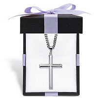 Sterling Silver Beveled Cross Pendant with Stainless Steel Chain Includes FREE Red and Black Bow-Tied Gift Box 24