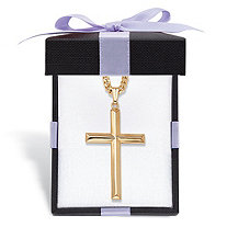 Cross Pendant 14k Gold-Filled with Gold Ion-Plated Stainless Steel Chain With FREE Red and Black Bow-Tied Gift Box 24