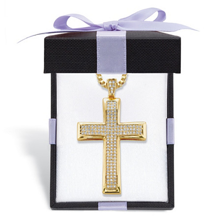 ".65 TCW Round Cubic Zirconia 14k Gold-Plated Cross Pendant Necklace With FREE Bow-Tied Gift Box 20"" at PalmBeach Jewelry"