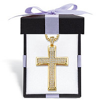.65 TCW Round Cubic Zirconia 14k Gold-Plated Cross Pendant Necklace With FREE Bow-Tied Gift Box 20""
