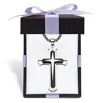 Men's Triple Layer Cross and Box Chain Pendant Necklace in Black Ion-Plated Stainless Steel with FREE Bow-Tied Gift Box 24