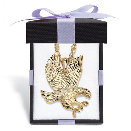 """Men's Eagle Pendant Yellow Gold Tone Rope Chain Necklace With FREE Red and Black Bow-Tied Gift Box 24"""" at PalmBeach Jewelry"""