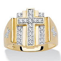 Men's .50 TCW Round Cubic Zirconia 18k Gold over Sterling Silver Layered Cross Ring