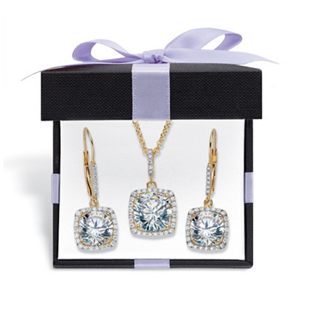 "Round Cubic Zirconia 2-Piece Squared Halo Earring and Necklace Set 10.84 TCW 14k Gold Over Sterling Silver with FREE Gift Box 18""-20"" at PalmBeach Jewelry"