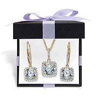 "Round Cubic Zirconia 2-Piece Squared Halo Earring and Necklace Set 10.84 TCW 14k Gold Over Sterling Silver with FREE Gift Box 18""-20"""