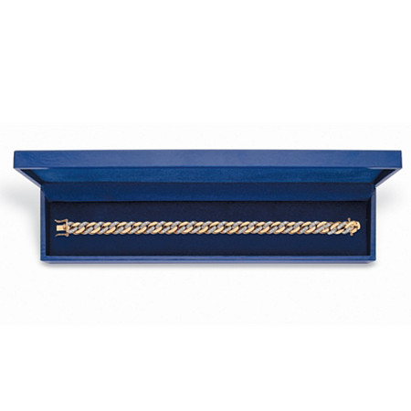 "Men's Diamond Accent 18k Gold-Plated Curb-Link Bracelet with FREE Blue Gift Box 8.5"" at PalmBeach Jewelry"