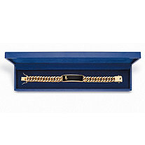 Men's Genuine Black Onyx 14k Gold-Plated Praying Hands Curb-Link Bracelet With FREE Blue Gift Box 8""
