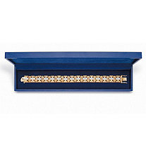 Men's 10.35 TCW Square Cubic Zirconia 14k Gold-Plated Bar-Link Bracelet With FREE Blue Gift Box 8.25""