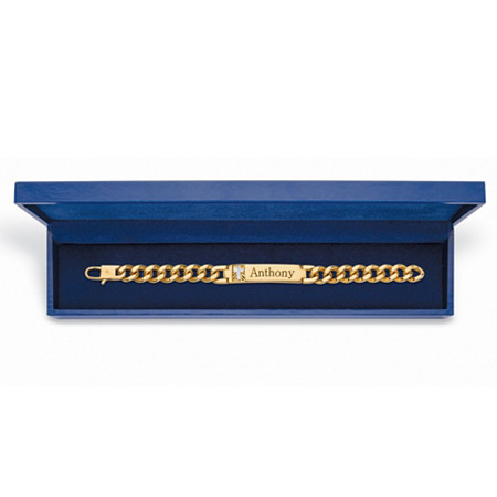 "Men's Diamond Accent Personalized Curb-Link 14k Yellow Gold-Plated Cross Bracelet with FREE Blue Gift Box 8"" at PalmBeach Jewelry"