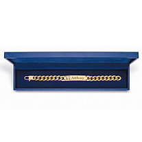 Men's Diamond Accent Personalized Curb-Link 14k Yellow Gold-Plated Cross Bracelet with FREE Blue Gift Box 8""