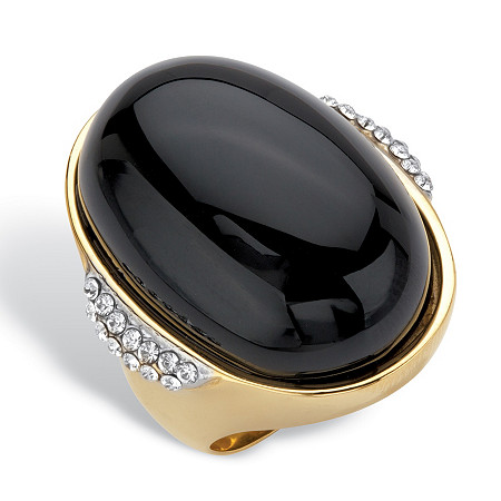 Oval Genuine Black Onyx and Crystal Accent Gold Ion-Plated Stainless Steel Cabochon Ring at PalmBeach Jewelry