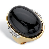 SETA JEWELRY Oval Genuine Black Onyx and Crystal Accent Gold Ion-Plated Stainless Steel Cabochon Ring