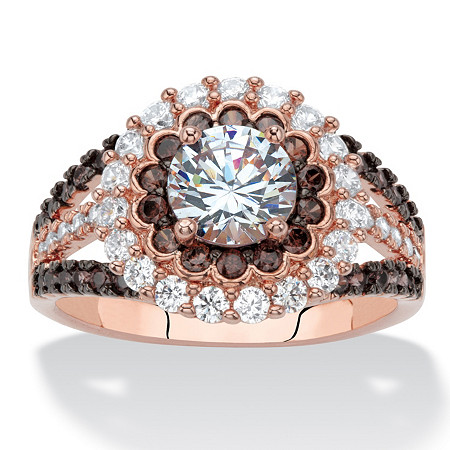2.99 TCW Round White and Chocolate Brown Cubic Zirconia Rose Gold-Plated Double Halo Engagement Ring at PalmBeach Jewelry