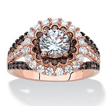 2.99 TCW Round White and Chocolate Brown Cubic Zirconia Rose Gold-Plated Double Halo Engagement Ring