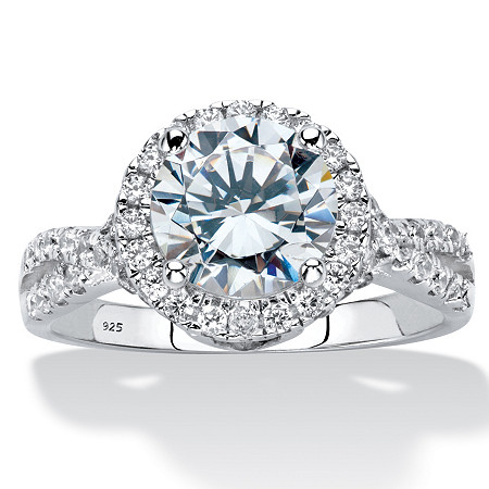 2.66 TCW Round Cubic Zirconia Sterling Silver Halo Crossover Engagement Ring at PalmBeach Jewelry