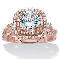 Round Cubic Zirconia Rose Gold Over Sterling Silver Squared Double Halo Engagement Ring ONLY $34.99