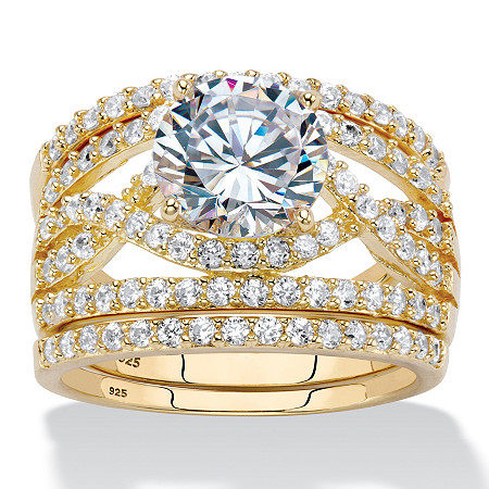 4.44 TCW Round Cubic Zirconia 14k Gold Over Sterling Silver 3-Piece Multi-Row Wedding Ring Set at PalmBeach Jewelry